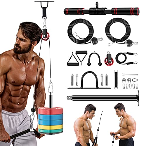 22Packs Fitness LAT and Lift Pulley System Gym, 5 in 1 Cable Pulley Machine, 2 Cable with Upgraded Loading Pin for Triceps Pull Down, Biceps Curl, Weight Attachment Rope, Shoulder, Home Gyms