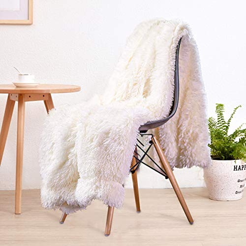 """LOCHAS Super Soft Shaggy Faux Fur Blanket, Plush Fuzzy Bed Throw Decorative Washable Cozy Sherpa Fluffy Blankets for Couch Chair Sofa (Cream White 50"""" x 60"""")"""