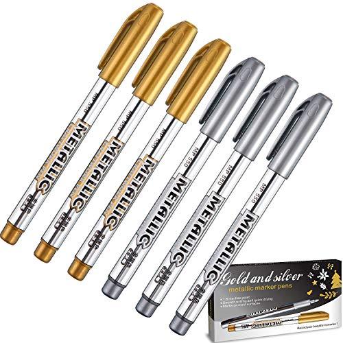 Frienda Gold und Silber Metallisch Markierstifte, Metallisch Dauerhaft Marker Geeignet für Karten Schreiben Signatur Schriftzug Metallisch Malstifte (Gold und Silber, 1,5 mm 6 Stifte)