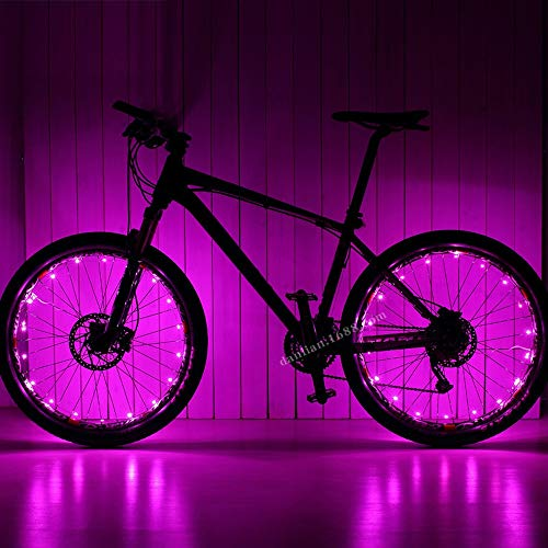 XIAOHUA-UK Rueda Accesorios Luz, Bicicleta de montaña Caliente de Las Ruedas de radios Luces de Cola Recargable luz de la Bicicleta Luces USB (Color : Pink)