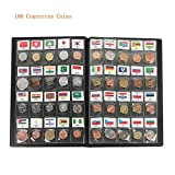 180 Countries Coins Collection Set Fine Coins 100% Original Genuine World Coin with Leather Collecting Album Taged by Country Name and Flag (180 Countries Coins Album)