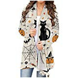 KHIIen Women Halloween Cardigan Tops Funny Cute Pumpkin Black Cat Graphic Long Sleeve Open Front Blouse Lightweight Coat