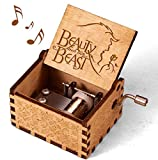 Beauty and The Beast Music Box, Valentine Christmas Birthday Anniversary Wooden Gift for Wife Girlfriend Husband Boyfriend Girl Hand Crank Present