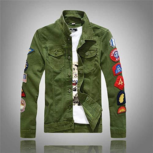 EDCV Fashion Herren Jacken Patches Designer Weiß Grün Hip Hop Jeansjacken Herren Streetwear Biker Herrenjacke, Grün, XXL (Chinesische Größe)