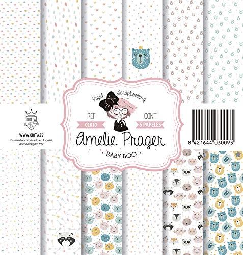 Amelie Prager AMSP01010 Papel Scrapbooking, Multicolor, 30.5 x 32 cm