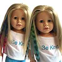 (Blue/Pink & Green/Blue) - Clip In Hair Extensions Zebra Print Blue/Pink & Green/Blue for 46cm Dolls and American Girl Dolls - Doll Wig Piece in Zebra Print Blue/Pink & Green/Blue- Hair Extensions for 46cm Dolls