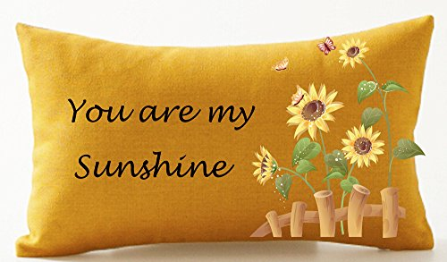 ASTIHN Sunflower You Are My Sunshine Cotton Linen Throw Pillow Cover Cushion Case Home Office Decorative Rectangle 12 X 20 inches