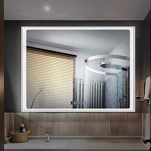 600x800mm Borde Pulido sin Marco, baño Iluminado led luz de Aluminio Plateado/Marco Negro montado en la Pared con Interruptor táctil de luz Blanca/Caliente + Tiempo/desorfogando Espejo decorativ