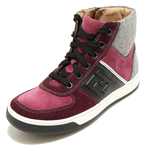 Fendi 9531F Sneaker alta Bordeaux Grigia Kaleido Scarpa Bimbo Bimba Shoes Kids [33]