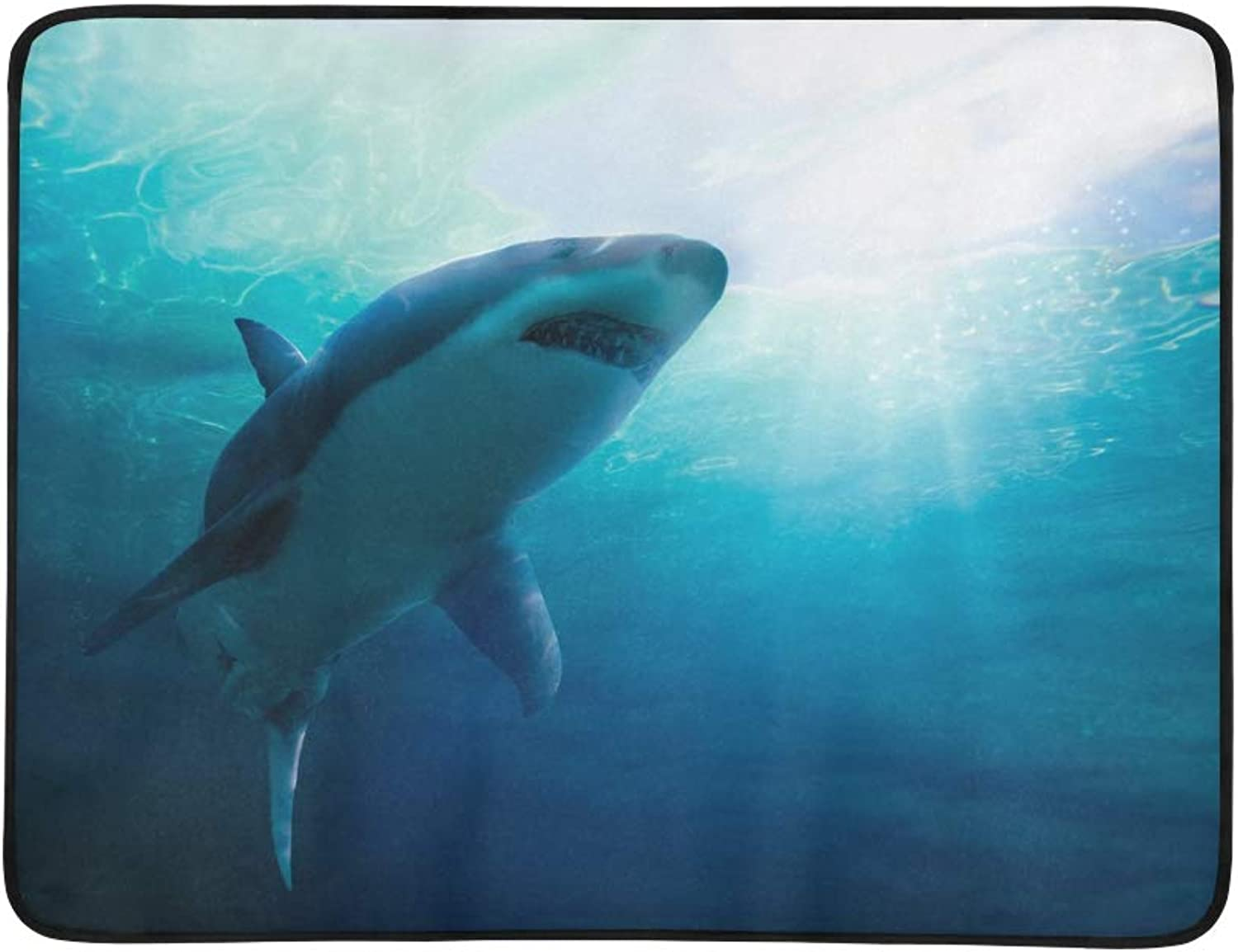Great White Shark Swimming Pattern Portable and Foldable Blanket Mat 60x78 Inch Handy Mat for Camping Picnic Beach Indoor Outdoor Travel