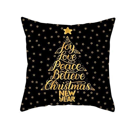 HAPPKING 2020 Pfirsichhaut schwarz Gold Weihnachten Kissenbezug Neue Schneeflocke Alphabet Sofa Kissenbezug (Farbe : 37, Größe : 45 * 45cm)