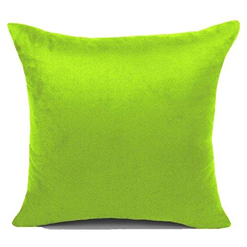 KAMIXIN - Fundas de cojín o almohada cuadradas de ante para el hogar, de colores lisos, para sofá, cama o asiento de coche, tela, Verde, 40x60cm=16x24