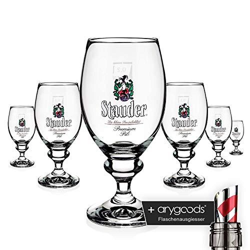 6 x Stauder Glas Gläser 0,2l Pokal Bier Brauerei Gastro Bar Deko NEU + anygoods Flaschenausgiesser