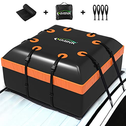 LIMINK Dachbox Auto Faltbare Dachtasche Wasserdicht Dachkoffer Gepäckbox mit Anti-Rutsch Matte +4 Türhaken, geeignet für alle Fahrzeuge mit/ohne Gepäckträger Gepäcktransport,15 Kubikfuß