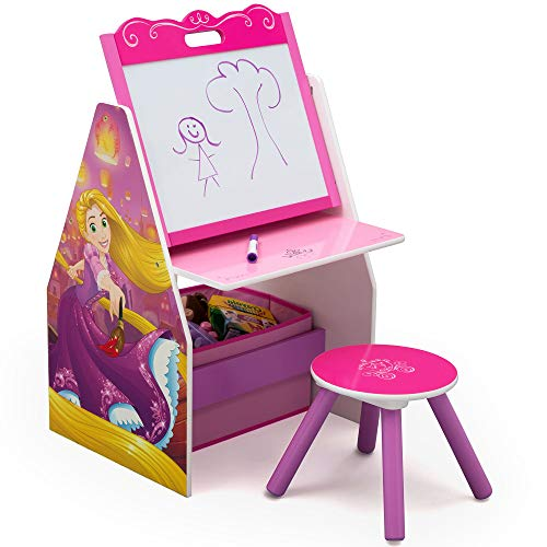 Delta Children Activity Center with Easel Desk, Stool and Toy Organizer, Disney Princess