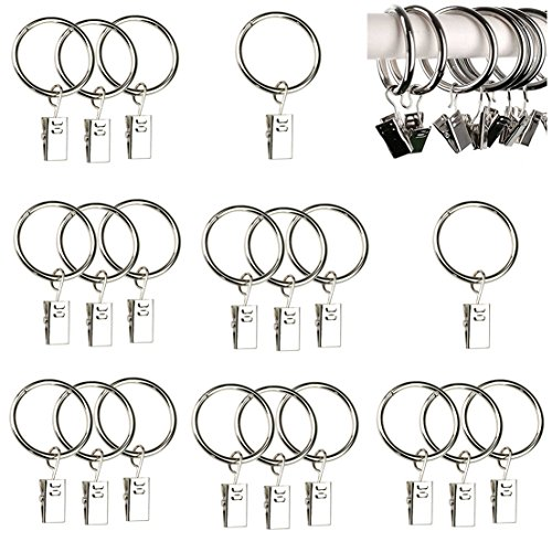 Qiorange 20Pcs Curtain Rings Clips, Metal Drapery Cloth Pegs with Ring Pincer Clip Curtain Rod Rings Drapery Clips (Silver 20 Pcs)