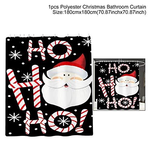 WERNG Navidad Papá Noel Cortina de baño Feliz Navidad Decoración para el hogar Navidad 2019 Adornos Navidad Año Nuevo 2020 Cortina de Ducha 6