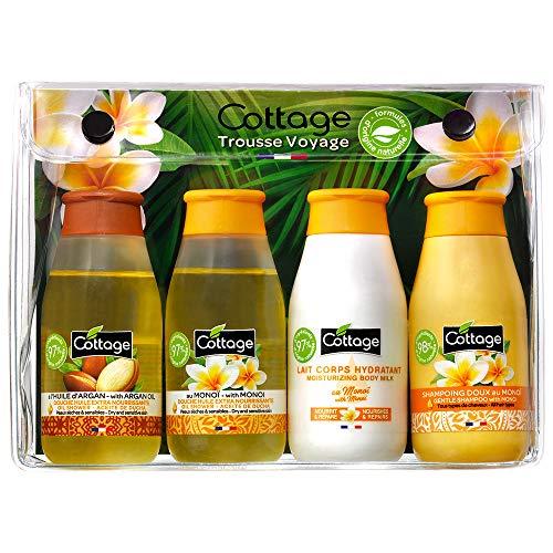 Cottage Trousse de Voyage Monoï 2 Douches Huile + Lait Corps Hydratant + Shampoing Doux 50 ml 4 Unités