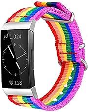 Bandmax Regnbågsband kompatibel Fitbit Charge 3 Smartwatch, HBT Pride Nylon Charge 3 klockarmband hållbar Fitbit 3 sport ersättningsremmar tillbehör med justerbart silvermetalllås