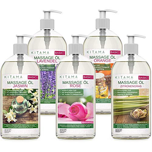 Kitama Massageöl Aroma Set 5 x 500ml - Aroma Jasmin, Rose, Orange, Lavendel, Zitronengras