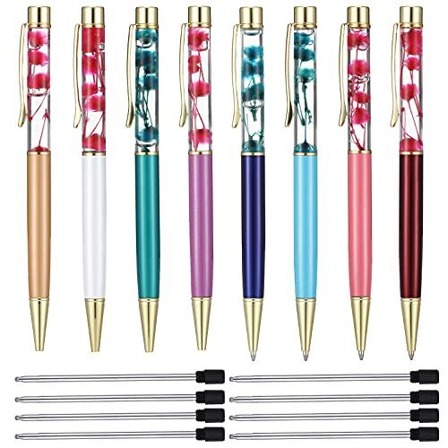 16 Pieces Liquid Floral Ballpoint Pens Set 8 Liquid Flower Pens Flower Cute Pens Metal Fancy Pens 8 Black Ink Pen Refills for Present, Desk Accessories and Anniversary Christmas