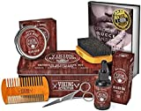 Beard Care Kit for Men- Sandalwood- Ultimate Beard Grooming Kit includes 100% Boar Beard Brush, Wood Beard Comb, Sandalwood Beard Balm, Sandalwood Beard Oil, Beard & Mustache Scissors in a Metal Box