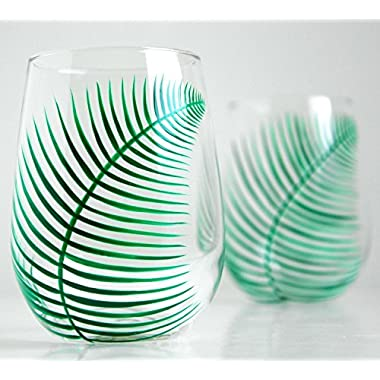 Green Ferns Stemless Wine Glasses - Set of 2 Hand Painted Fern Glasses for the Newlyweds