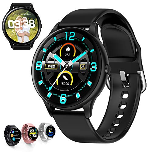 Fitness Tracker, Smart Watch Step Trackers with Heart Rate Monitor,Circular screen Color Touch Screen Activity Tracker wth Sleep Monitoring, Calorie Counter, Pedometer for Men Women (black, one)
