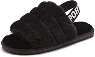Womens Leopard Fuzzy Slippers Soft Plush Open Toe Faux Fur House Slide Sandals Indoor Spa Bedroom Flat Shoes with Elastic Strap