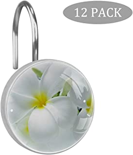 Plumeria Shower Curtain Hooks Rings, Circle rustproof Stainless Steel with 3D Pattern Visual, for Bathroom Shower Rod, 12 Piece Set