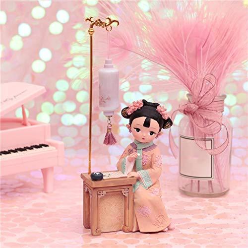 xinxinchaoshi Escultura Adornos de Marionetas Pequeños Regalos con características Chinas, Traje de muñecas Estatua Juega a ajedrez bajo la lámpara Figurillas Decorativas