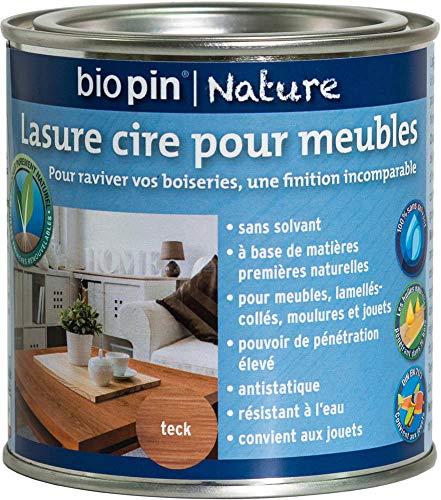 Biopin Lasure Cire Naturelle pour Meubles 0,375 L - Teck
