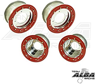 TRX 450R TRX 400EX Beadlock Set of 4 Wheels Rims - Compatible with Honda - Rear 9x8 Front 10x5 4+1 Polished/Red