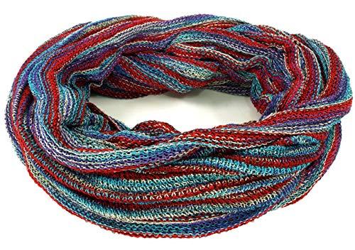 GURU SHOP Weicher Loop Schal/Stola, Magic Loopschal, Weste, Herren/Damen, Blau/rot, Baumwolle, Size:One Size, Schals Alternative Bekleidung