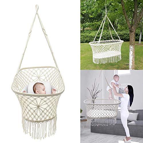 SEGIBUY hangmat, handgeweven katoenen koord, hangmatstoel, macraméschommel, hangende babyshaker mand voor buiten of binnen