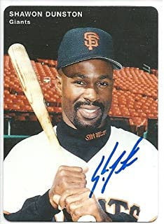 1996, Shawon Dunston, San Francisco Giants, Signed, Autographed, Mother's Cookies Baseball Card, Card # 11, a COA Will Be Included