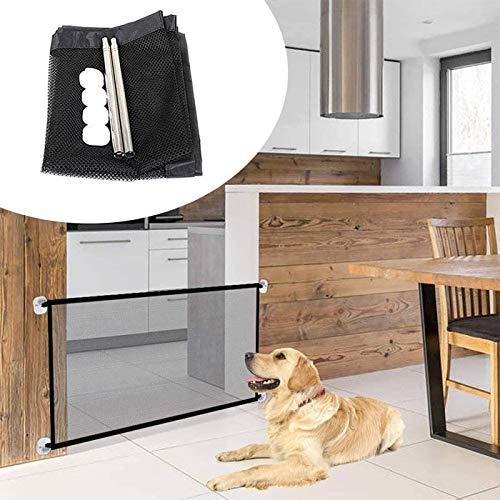 Ducomi Dogate Barrera de seguridad para perros plegable y de fácil instalación – Valla para escaleras, puertas, interiores y exteriores – Recinto de red para perros y animales domésticos (72 x 110 cm)