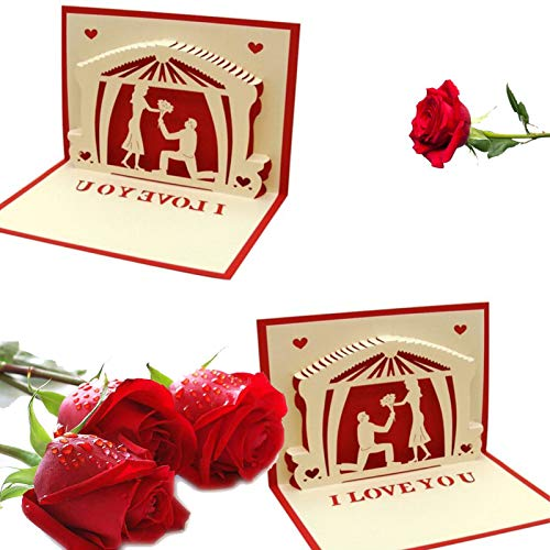 ZAYALI 3D Pop Up Greeting Cards, Happy Valentine's Day Pop Up Card,3D Stereo Greeting Card Rose Flower Card for Valentine, Wedding, Anniversary, Birthday