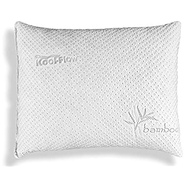 Pillows for Sleeping, Hypoallergenic Bed Pillow for Side Sleeper – ADJUSTABLE Loft Bamboo Memory Foam Pillow - Kool-Flow Micro-Vented Bamboo Cover, Washable - Premium - MADE IN THE USA – STANDARD