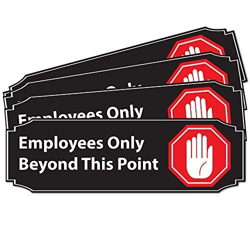 """Stylish Employees Only Beyond This Point Office Store Sign   4 Pack 9"""" x 3"""" Red PVC Combo • Great for for Restaurants, Salons, Hotels and Motels, Gas Stations, Rest Stops • Posted Sign • 3M Tape"""