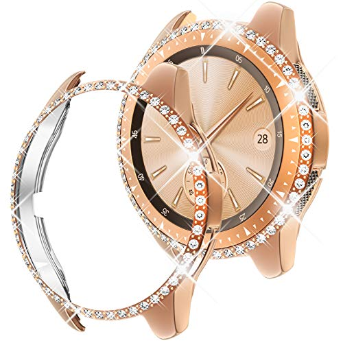 Goton Compatible for Samsung Galaxy Watch 42mm Case Bling, Women Crystal Diamond Watch Face Cover Shiny PC Case Protector for Galaxy Watch 42mm Bumper (Rosegold, 42mm)