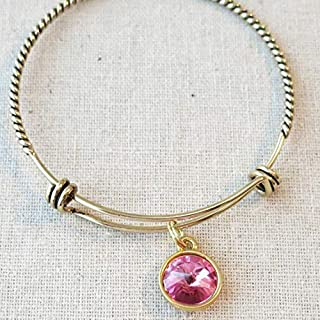 Antique Gold OCTOBER PINK TOURMALINE Birth Month Charm Bangle Bracelet, Gift for Daughter Sister Girlfriend Bridesmaid, Birthstone Bridesmaid Jewelry Gift, October Birthday Birthstone Gifts Under 20