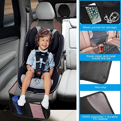 Car Seat Protector, Smart eLf 2 Pack Large Auto Carseat Protectors for Child Baby Car Seat with Thickest Padding and Non-Slip Backing Mesh, Vehicle Dog Cover Pad for SUV Sedan Leather Fabric Seats