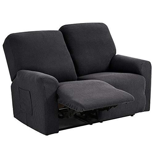 TIANSHU Funda reclinable para sofá de Dos plazas, 6 Piezas para 2 Asientos, Funda reclinable de Jacquard para sofá de 2 Cojines, Funda elástica para sofá(Sillón Relax 2 Plaza, Gris)