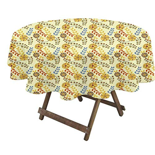 prunushome Yellow Round Table Cover Old Fashioned Abstract Flowers Nostalgia Vintage Design Gardening Plants Foliage for Outdoor and Indoor Use Multicolor | 36' Round