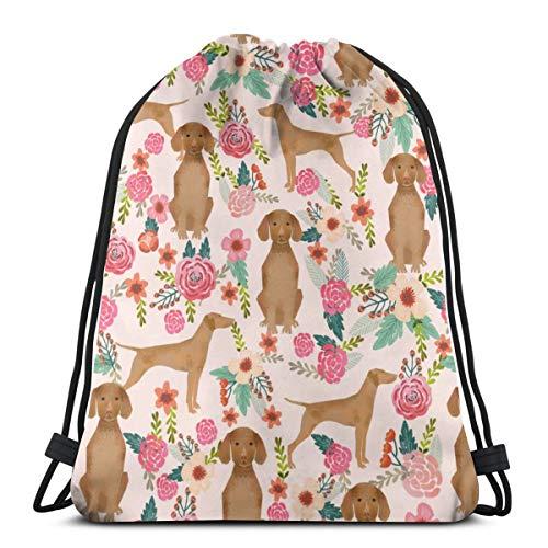 vintage cap Vizsla Floral Dog Florals Dog Design_709 3D Print Drawstring Backpack Rucksack Shoulder Bags Gym Bag for Adult 16.9\