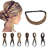 Braided Headband Plaited Hair Band Chunky Braided Headband Elastic Stretch Braid Hairband Wide Plaited Braids Synthetic Hairpiece For Girls And Women (Medium-five strands braided, light brown)