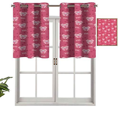 Hiiiman Panel de cortina cuadrado con bloqueo UV, diseño de cerdo de dibujos animados con texto en inglés 'Running Towards Humor', juego de 2, 54 x 24 pulgadas para habitación de niños