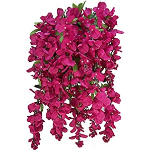 Artificial Wisteria Long Hanging Bush Flowers – 15 Stems For Home, Wedding, Restaurant and Office Decoration Arrangement, Turquoise