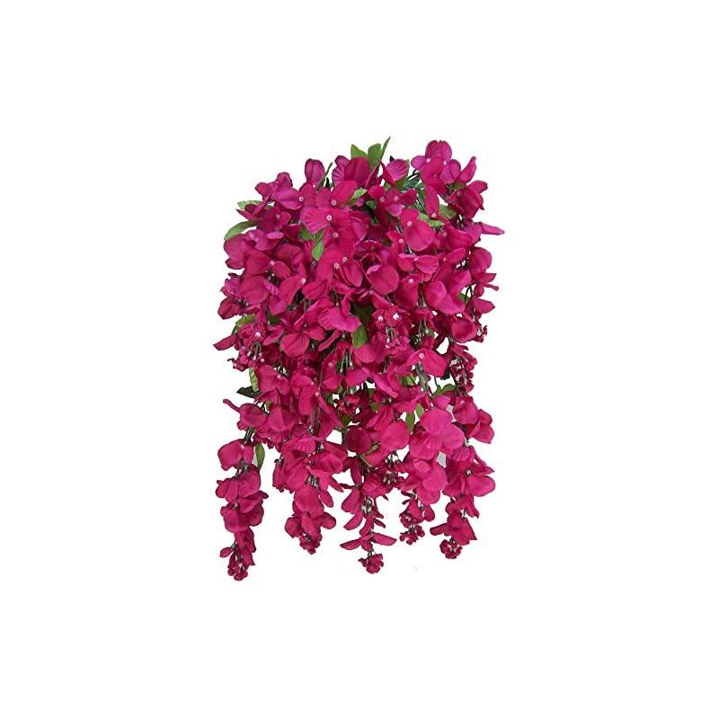 silk flower arrangements artificial wisteria long hanging bush flowers - 15 stems for home, wedding, restaurant and office decoration arrangement, turquoise